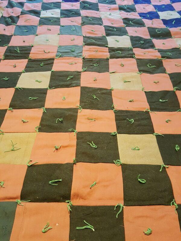 """ANTIQUE VINTAGE QUILT WOOL GABARDINE SUITING HAND TIED DARK AMISH COLORS 62X81"""""""