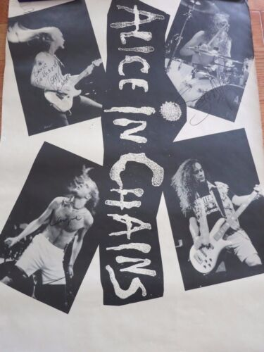Alice In Chains Signed Poster 1990 + Coa! Rare Poster Autographed By The Band