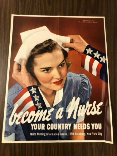 BECOME A NURSE World War 2 ORIGINAL Poster Nazi 1942 America Japan Germany JKT1