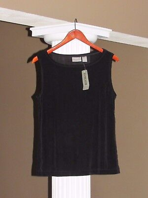 CHICO'S TRAVELERS Black High Neck Tank Top Shell Cami Size 2 (12-14) NWT $48.00