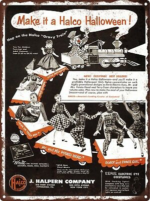 1954 Halco Halloween Costumes Mr.Potato head train Metal Sign Repro 9x12