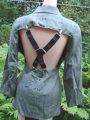 Vintage 80s PUNK ROCKER Jacket BRACES Designer Suspender Snaps S GROMMETS