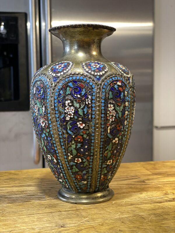 Persian Rasht Enamel On Silver Vase, Russian Style Cloisonne