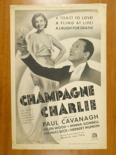 Champagne Charlie Paul Cavanagh Helen Wood 1936 Vintage Movie Press Book