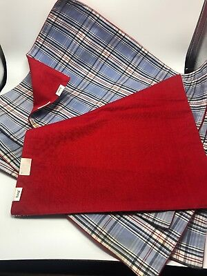 """TAG Set of 5 Place mats Cloth Red White & Blue 19"""" X14"""" Reversible Plaid & Solid"""