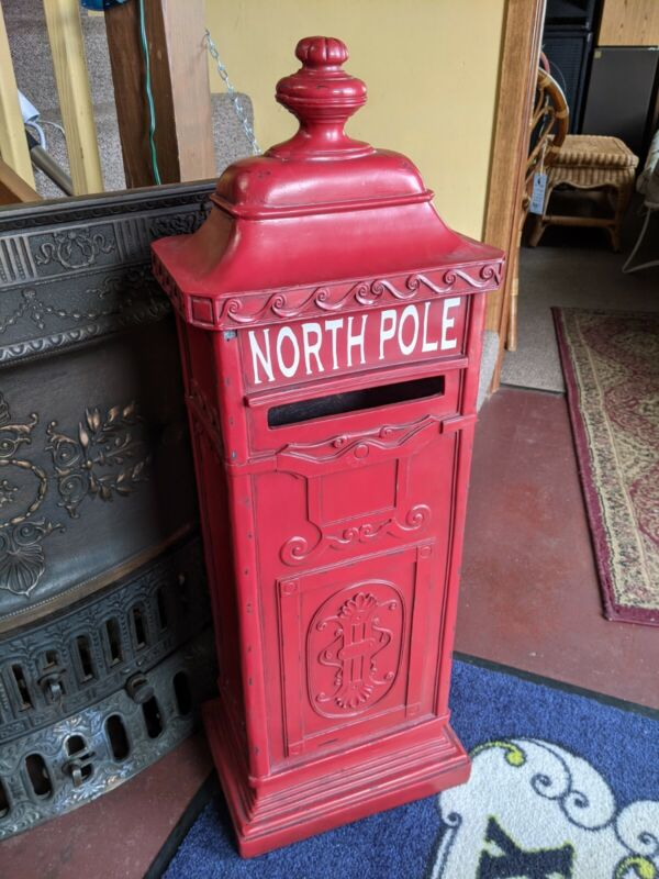 "Vintage Style CHRISTMAS North Pole Santa Claus Mailbox Post 36"" Fiberglass Red"