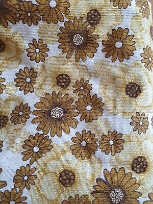 "70s 1970s Yellow Mustard Floral Flower Power Long true Vintage Curtains 90"" Drop"