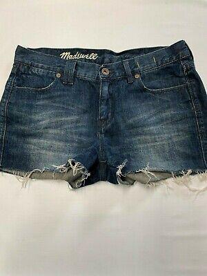 Womens MADEWELL Blue Cut Off Short Denim Shorts Sz 26 Blue Cut Off Short