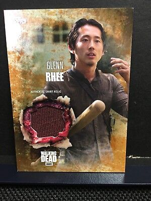 The Walking Dead Season 5 Glenn Rhee Authentic Shirt Relic Card Rust 36/99 -