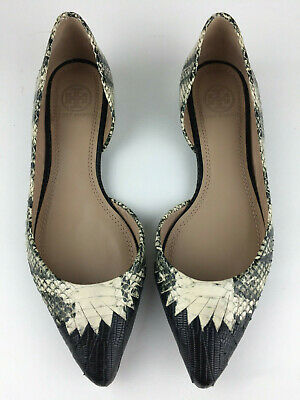 Tory Burch D'Orsay Woven Snake Embossed Black Pointed Toe Flats SZ 6M