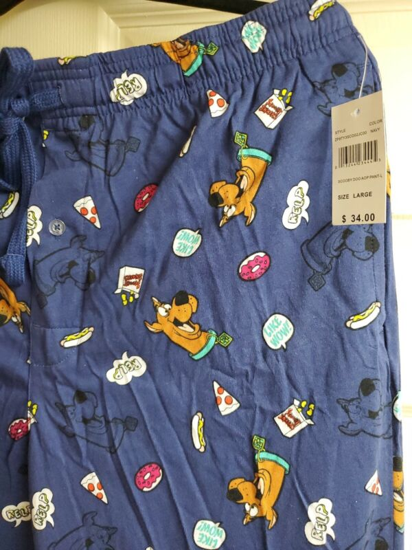 NEW SCOOBY DOO Pajama Pants Lounge Pants LARGE Knit free ship NEW