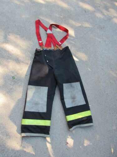 34 x 26 Body Guard Lined Black Firefighter Turnout Pants w/ Suspenders Thermal