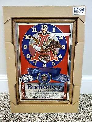 "Vintage BUDWEISER ""King of Beers"" Mirror Clock Eagle - 19"" x 13"" New Old Stock!"