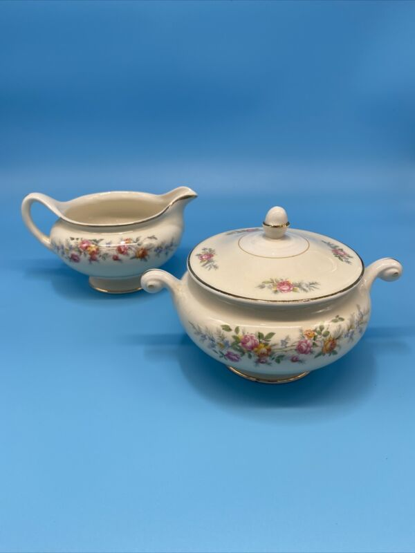 Homer Laughlin Eggshell Nautilus Sugar Bowl and Creamer