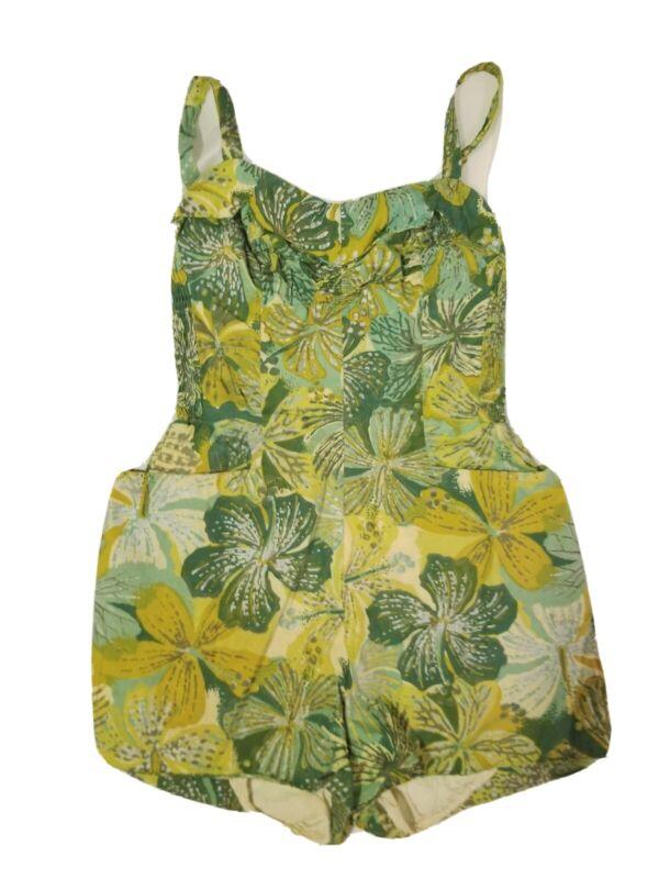 Alfred Shaheen Vintage 1950s Green Floral Print Cotton Retro Bathing Suit sz XS