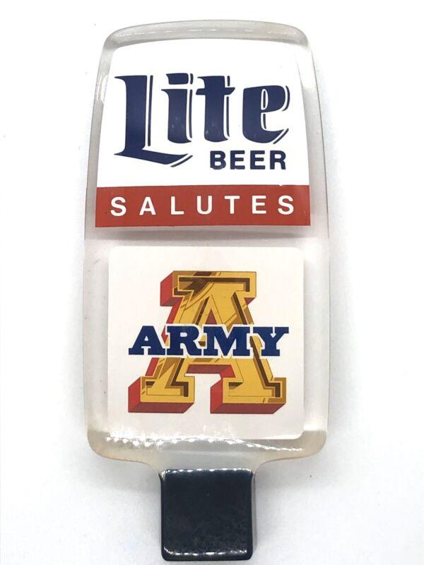 Rare Vintage Miller Lite Beer Salutes ARMY Acrylic Beer Tap handle