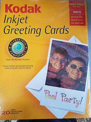 New Kodak Matte Half Fold Greeting Cards For Ink Jet Printer 20 Cards Envelopes
