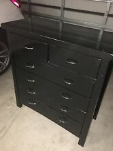 Wooden tall boy chest draw gloss black Emu Plains Penrith Area Preview