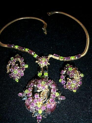 Vtg Juliana Purple Green Rhinestone Gold Scroll Necklace Earring Set Demi Parure