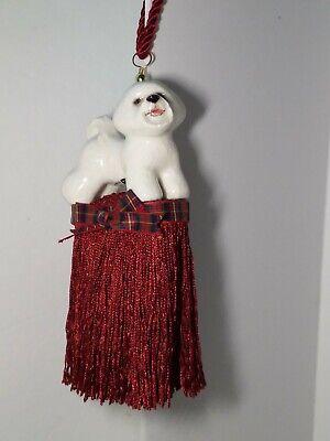 BICHON FRISE Ceramic CHRISTMAS ORNAMENT Door Knob Hanger RED TASSEL Fringe SIGND