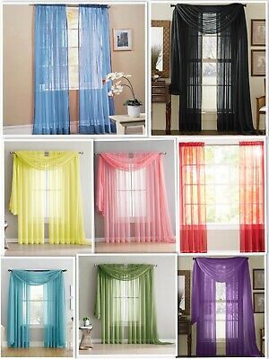 Empire Home Sheer Voile Window Curtain Drapes Short Panel 63