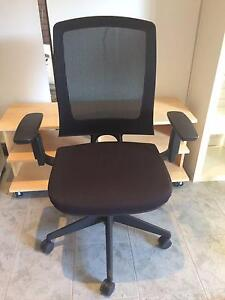 BLACK OFFICE CHAIR ON WHEELS, ADJUSTABLE AND COMFORTABLE Pagewood Botany Bay Area Preview