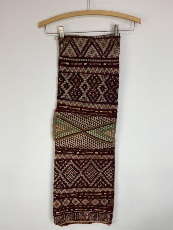 vintage woven Turkish Kilim wool saddle salt bag lumbar pillow case