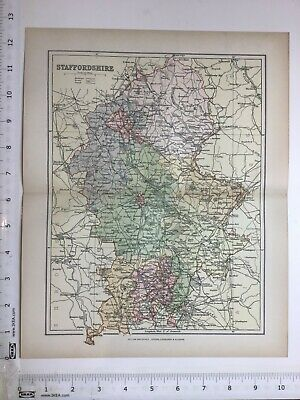 1893 Old Antique Colour Map, Staffordshire, The Potteries, Railways, Handsworth