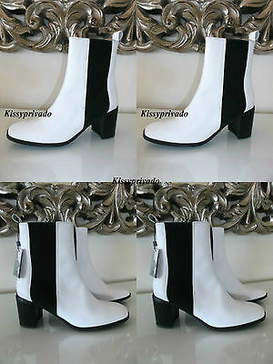 f29a919ac87 ZARA White Leather Ankle Boots with Black Elastic Panels 37 4 BNWT REF   3152 101