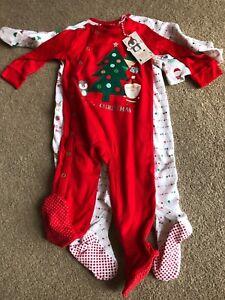Mothercare Christmas Sleepsuits 3 Pack 9-12 Months Santa Penguin Elf