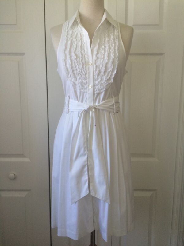 "THEORY ""Kaitlyn"" White Ruffle Front Button Down Shirt Dress Size 6"
