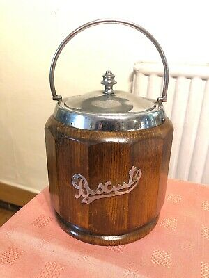VINTAGE 1940`S  WOOD BISCUIT BARREL WITH CERAMIC LINER Free Post