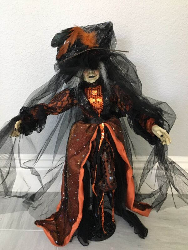 """HALLOWEEN WITCH DOLL STANDING GLAMOROUS SEQUIN DRESS BAT 25"""" TABLE TOP"""