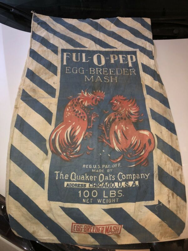 Vintage FUL-O-PEP Egg Breeder Mash QUAKER OATS CO. CHICAGO ILL COTTON BAG Sack