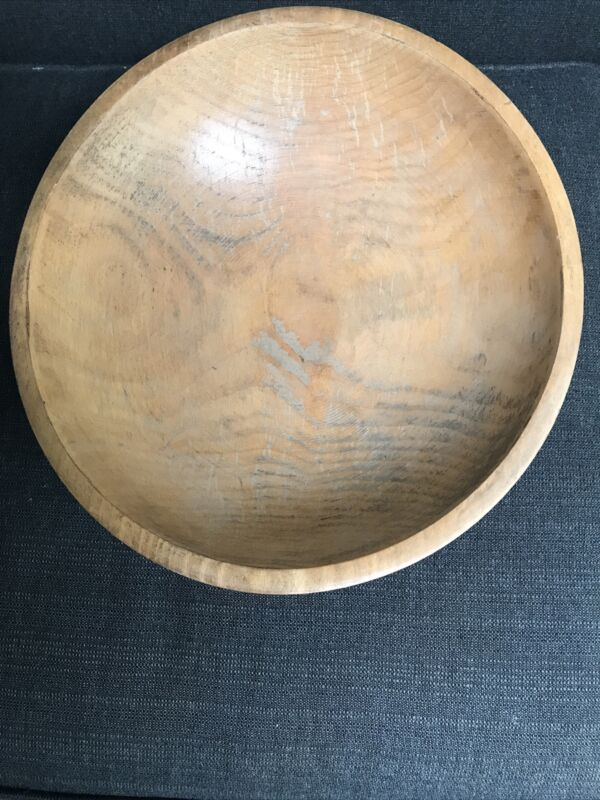 Vintage MUNISING Wooden Primitive Bowl With RED FEET