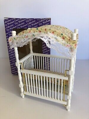 Dolls House Miniature 1/12 Cot Cradle Childs Bed Nursery Furniture Vintage