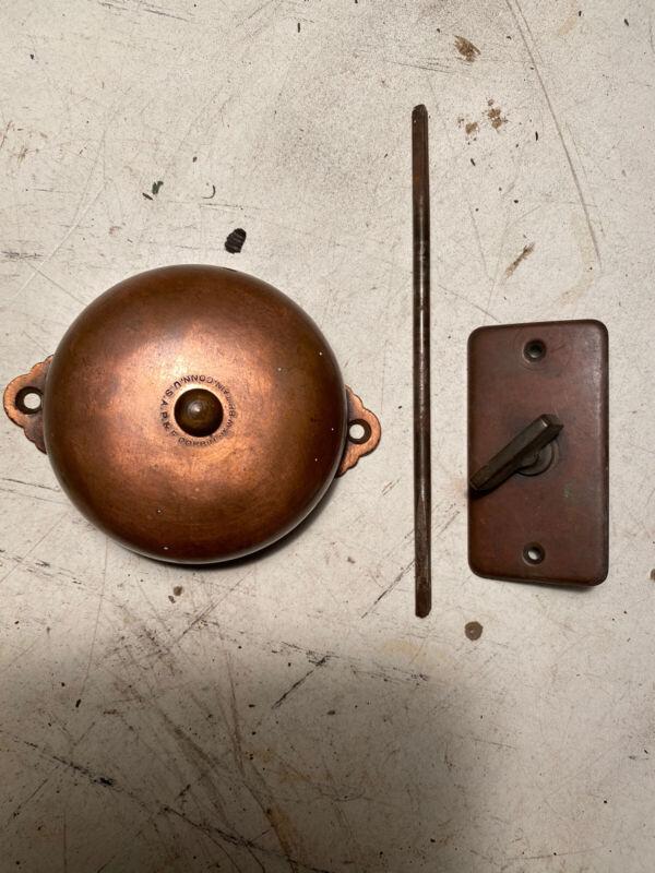 complete Antique Corbin 1889 door bell twist manual copper Victorian Hardware