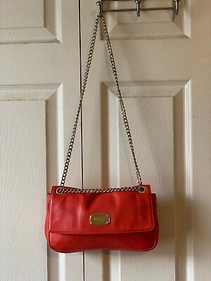 Michael Kors Handbag Purse Dark Orange Gold Accents and Chain Shoulder Strap