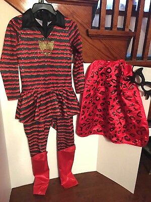 Halloween Black/Red Costume,3 Pc.Youth Sz.M,Cat Theme,Body Suit, Cape, Mask