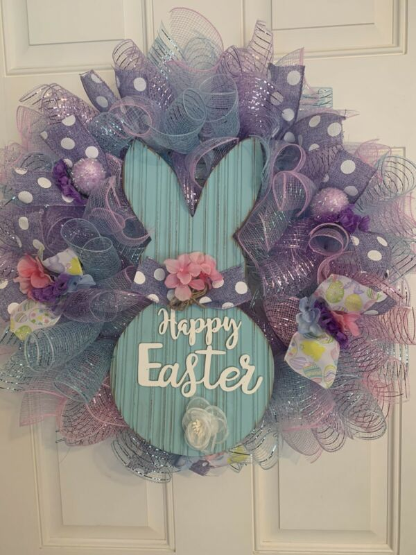 Easter Spring Farmhouse Deco Mesh Wreath