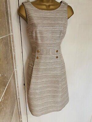 Beautiful Karen Millen Cream Textured Shift Dress BNWOT UK 10