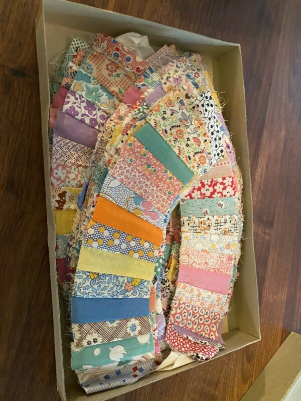Lot 92 Plus Grandmothers Fan Vintage quilt blocks hand Feedsacks BEST 40s Fabric
