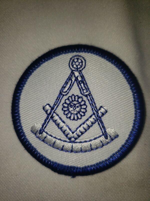 "Embroidered Masonic Sun Square & Compass  Patch  White & Blue  2 "" Diameter"