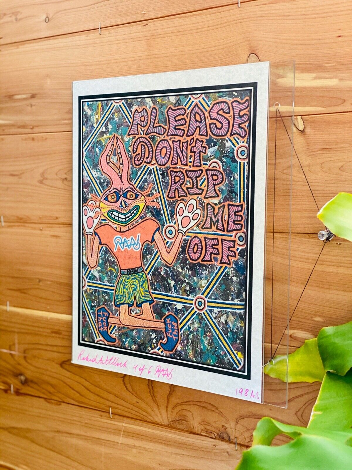 Contemporary Art Funny Bunny 4/6 Limited AS Edition Signed Parchment Print - $30.00
