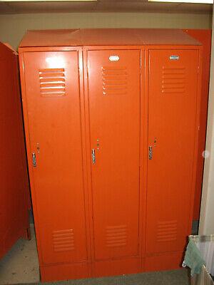 Three Connected Penco Used Vintage Heavy Metal Steel Lockers School Gym Athletic