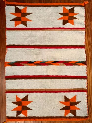 NAVAJO SADDLE BLANKET, 8-POINTED STAR CORNERS, COLORFUL ARROWS CENTER, EXCELLENT