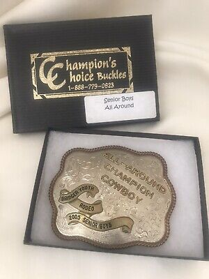 All Around Champion Cowboy 2005 Youth Rodeo Trophy Belt Buckle German Silver