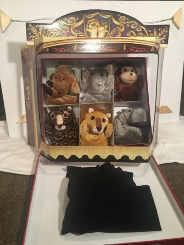 Vintage Restoration Hardware Family Puppet Theater Stage 9 Deluxe Zoo Puppets. - $26.99