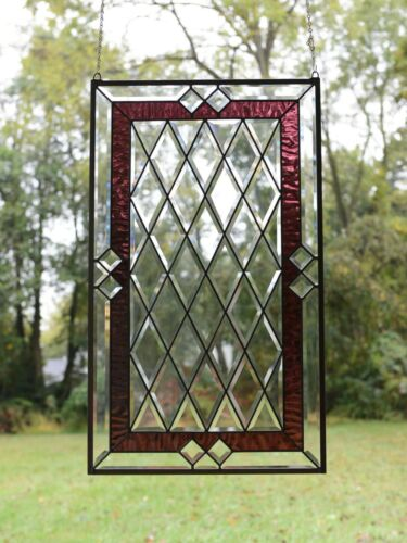 "20.25"" x 34.25""  Stunning Handcrafted stained glass Clear Beveled window panel"