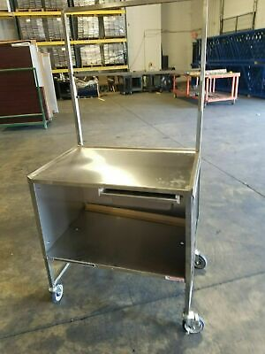 Custom Enclosed Stainless Commercial Mobile Table Station Sample Demo Event Cart